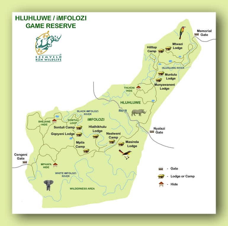 hluhluwe accommodation map