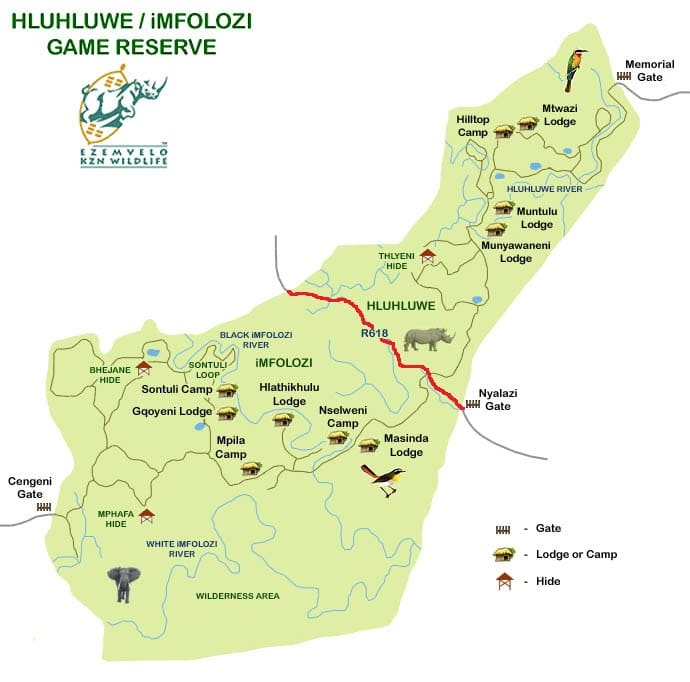 dipicting the 2 sides of the Hluhluwe-Imfolozi Park