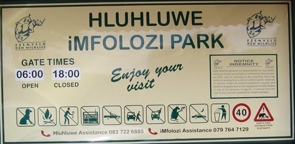hluhluwe imfolozi park rules sign - Copy